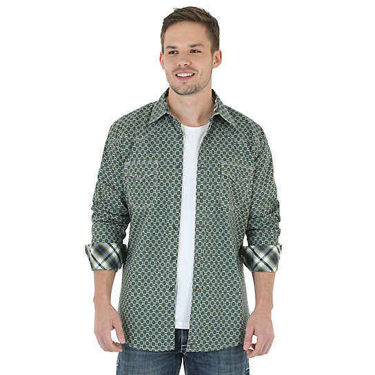 Men's Wrangler® 20X® Long Sleeve Western Snap Print Shirt