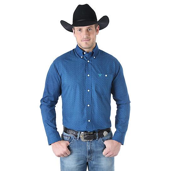 Wrangler 20x long sleeve button down print shirt big for Big and tall button up shirts