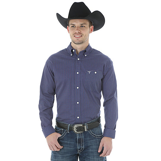 Men 39 s wrangler 20x long sleeve button down print shirt for Mens tall button down shirts