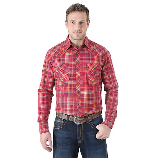 Wrangler® 20X® Advanced Comfort Long Sleeve Western Snap Plaid Shirt