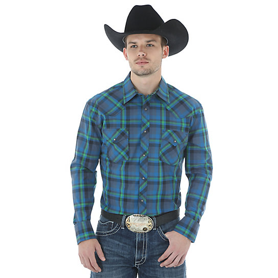 Men's Wrangler® 20X® Advanced Comfort Long Sleeve Western Snap Plaid Shirt (Tall Sizes)