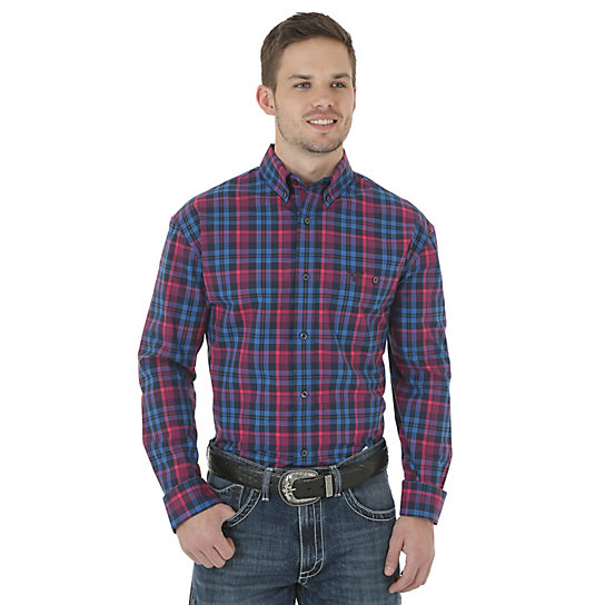 Men's Wrangler® 20X® Advanced Comfort Long Sleeve Button Down Plaid Shirt