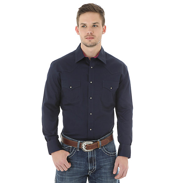 Men's Wrangler® 20X® Advanced Comfort Long Sleeve Western Snap Solid Shirt