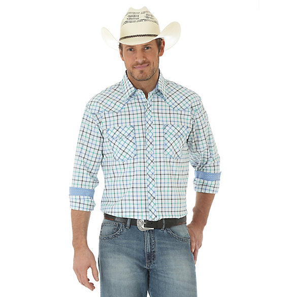 Men's 20X® Competion Advanced Comfort Long Sleeve Two Pocket Western Snap Plaid Shirt