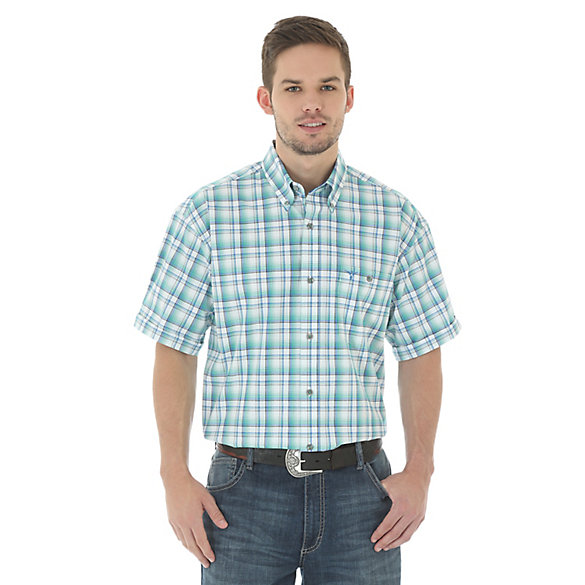 Men's 20X® Competion Advanced Comfort Short  Sleeve One Pocket Button Down Plaid Shirt (Tall Sizes)