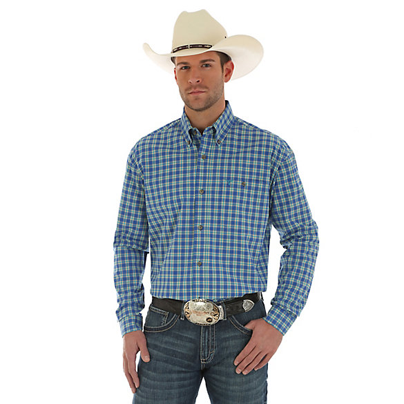 Men's Wrangler® 20X® Competion Advanced Comfort Long Sleeve One Pocket Button Down Plaid Shirt