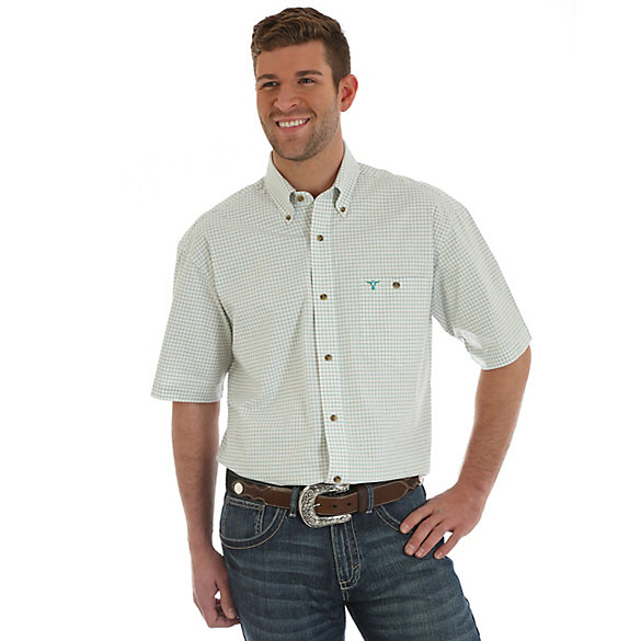 Men's Wrangler® 20X® Competition Advanced Comfort Short Sleeve Button Down One Pocket Plaid Shirt