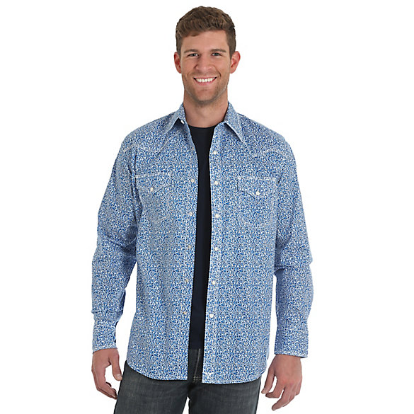 Men's Wrangler® 20X® Competion Advanced Comfort Long Sleeve Two Pocket Western Snap Print Shirt