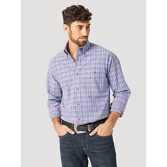 Men's Wrangler® 20X® Competition Advanced Comfort Long Sleeve One Pocket Button Down Plaid Shirt