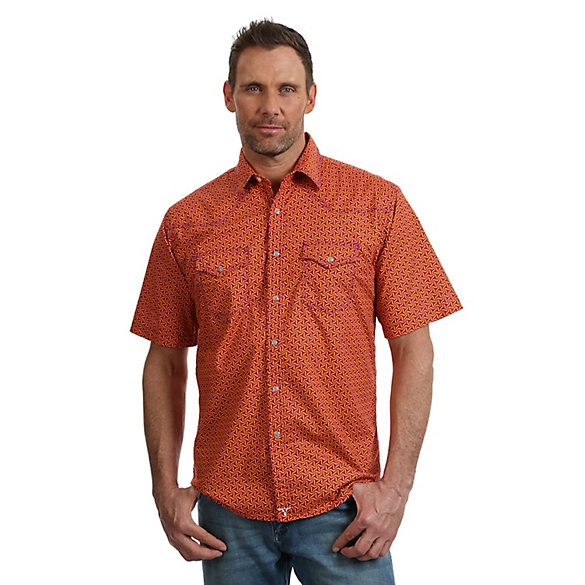 Men's Wrangler® 20X Advanced Comfort Short Sleeve Two Pocket Printed Western Snap Shirt