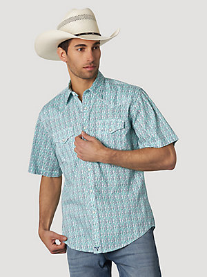 Men's Wrangler® 20X® Competition Advanced Comfort Short Sleeve Western Snap Print Shirt