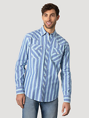 Men's Wrangler® 20X® Competition Advanced Comfort Long Sleeve Two Pocket Western Snap Stripe Shirt