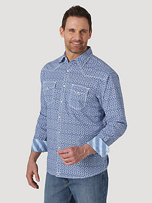 Men's Wrangler® 20X® Competition Advanced Comfort Long Sleeve Western Snap Print Shirt