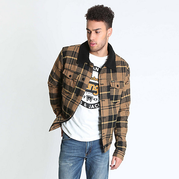 Men's Sherpa Lined Wool Trucker Jacket