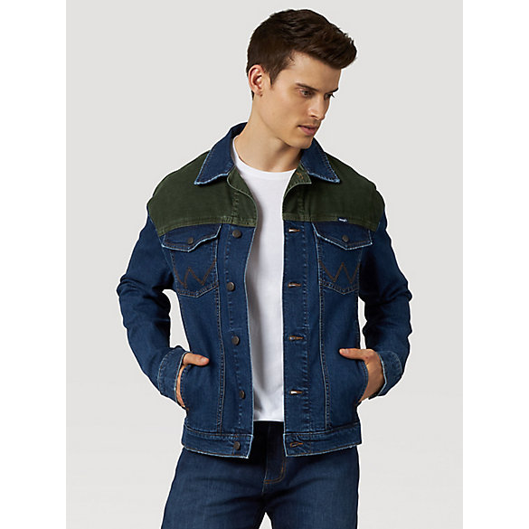 Men's Wrangler® Corduroy Shoulder Denim Trucker Jacket