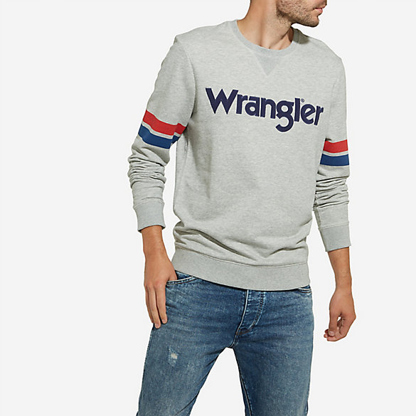 Men's Wrangler® Born Ready Pull-Over Stripes and Logo Sweatshirt