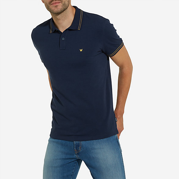 Men's Wrangler® Born Ready Double Stripe Collar Solid Polo