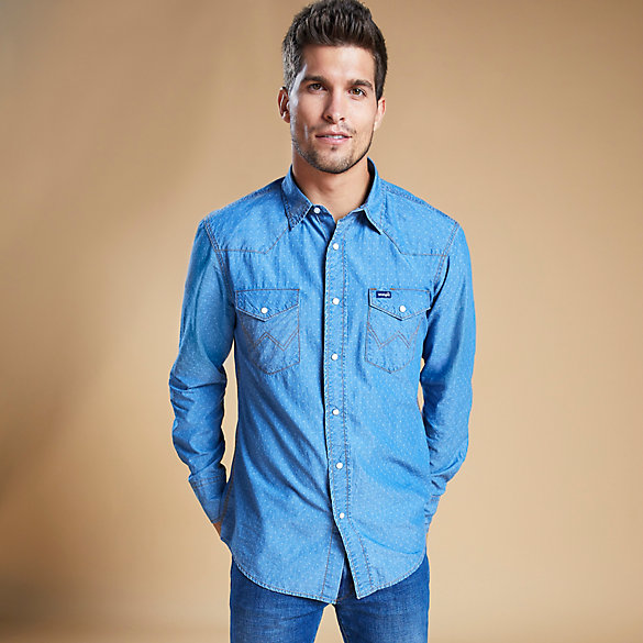 Men's Long Sleeve Two-Pocket Western Snap Work Shirt