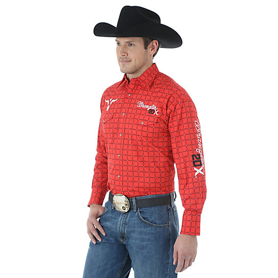 Men's Wrangler® 20X® Logo Long Sleeve Western Snap Plaid Shirt (Tall Sizes)