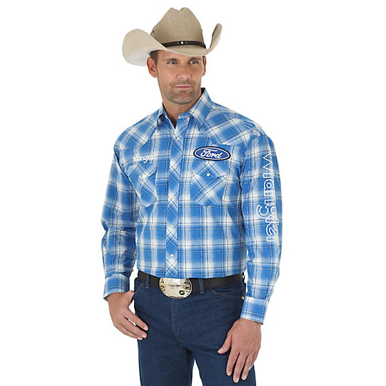 Men's Wrangler® and Ford® Logo Long Sleeve Western Snap Plaid Shirt