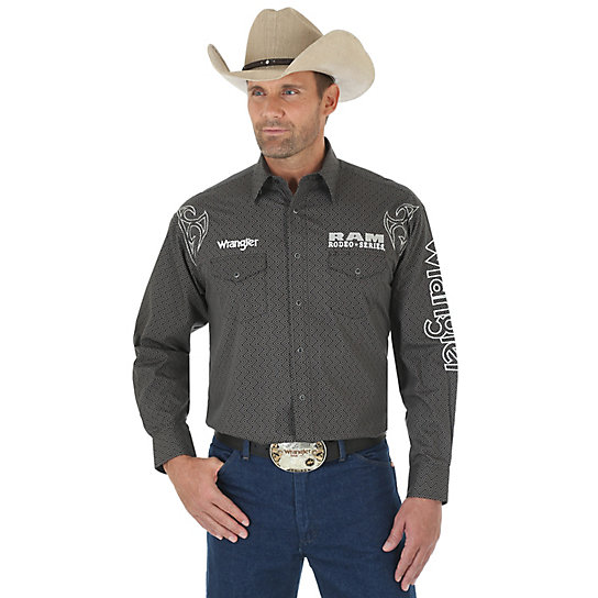 Men's Wrangler® and Rodeo Ram Series Logo Long Sleeve Western Snap Solid Shirt