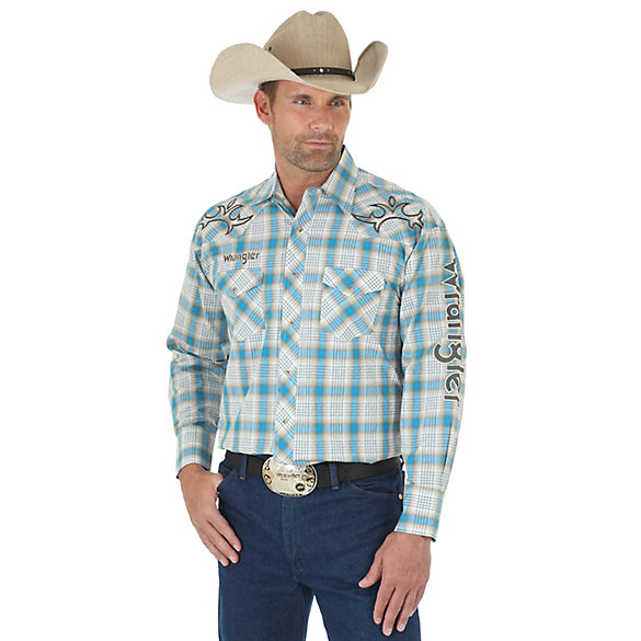 Men's Wrangler® Logo Long Sleeve Western Snap Plaid Shirt