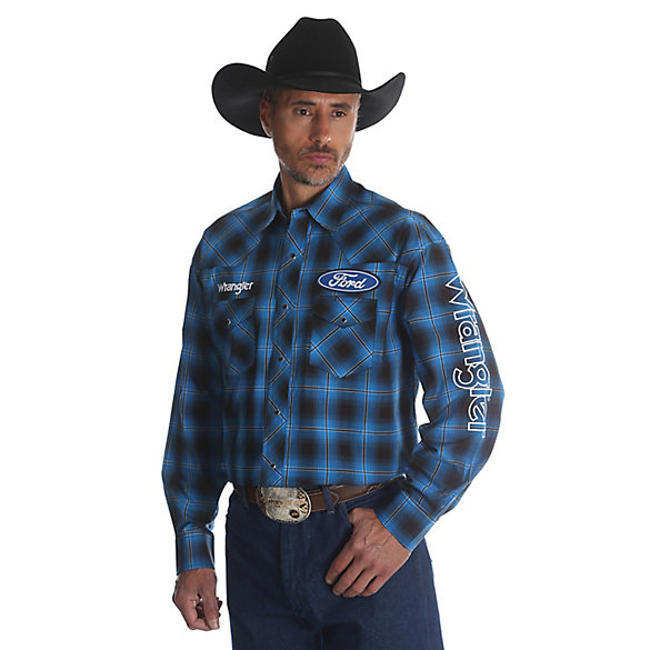 Men's Wrangler® Ford® Logo Long Sleeve Button Down Plaid Shirt