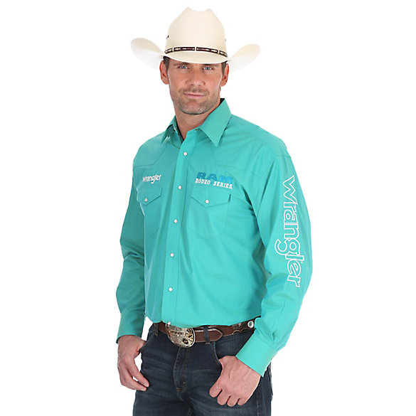 Men's Wrangler® RAM Rodeo Series Logo Long Sleeve Button Down Solid Shirt