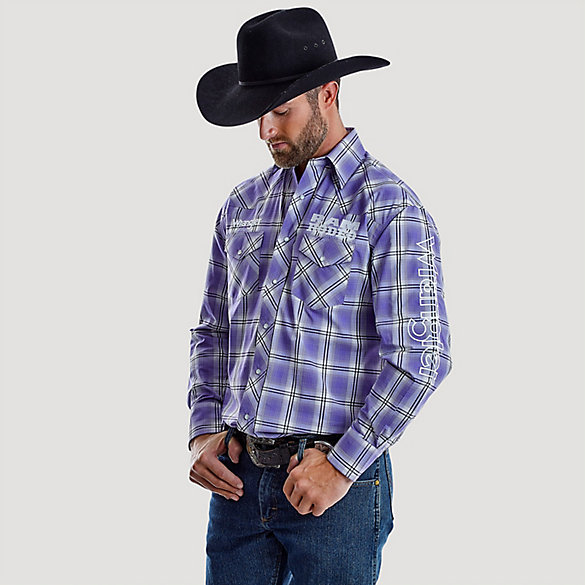 Men's Wrangler® Logo Ram Rodeo Series Western Plaid Shirt