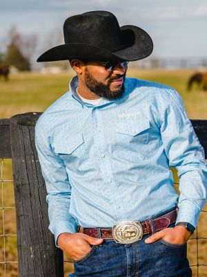 Men's Wrangler® Logo Long Sleeve Button-Down Print Shirt