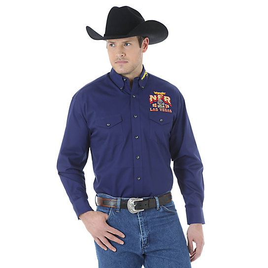Men's Wrangler NFR® Logo Long Sleeve Button Down Solid Shirt (Tall Sizes)