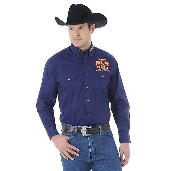 Men's Wrangler NFR® Logo Long Sleeve Button Down Solid Shirt