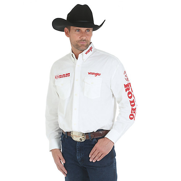Men's Wrangler® Logo Shirt Collection Long Sleeve Lightweight Twill Solid Shirt
