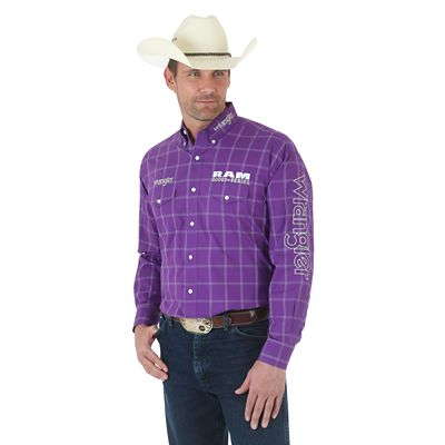 Wrangler 174 Amp Ram Rodeo Series Logo Long Sleeve Button Down