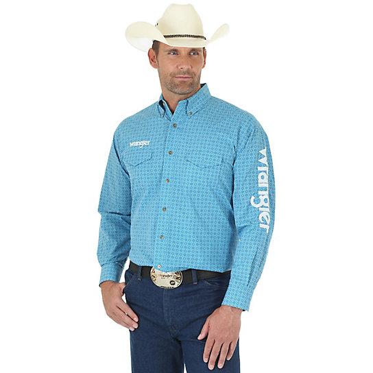 Men 39 s wrangler logo long sleeve button down print shirt for Mens tall button down shirts
