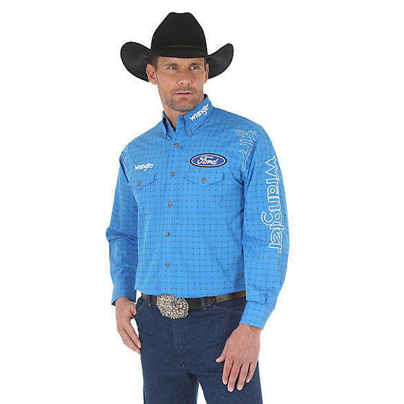 Men's Wrangler® Ford® Logo Long Sleeve Button Down Print Shirt