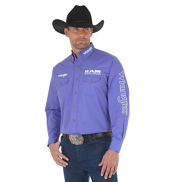 Men's Wrangler® RAM Rodeo Series Logo Long Sleeve Button Down Solid Shirt (Tall Sizes)