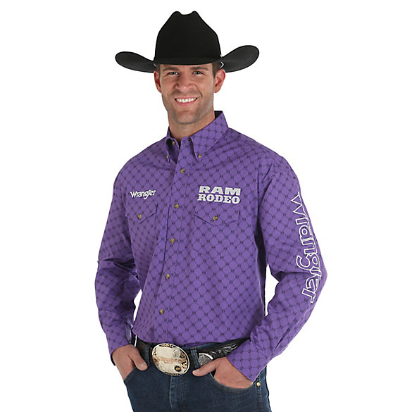 Men's Wrangler® Logo RAM RODEO Long Sleeve Button Down Print Shirt