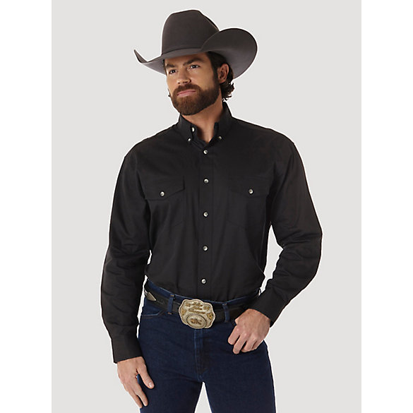 Painted Desert® Long Sleeve Button Down Lightweight Solid Twill Shirt