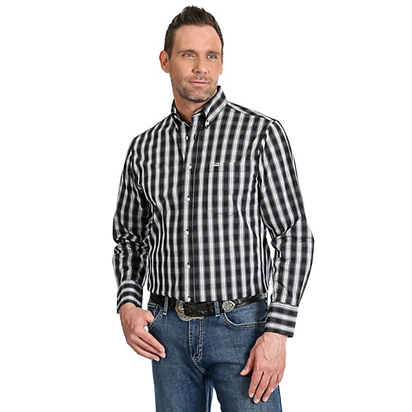 Men's Wrangler® 20X® Competition Performance Long Sleeve Button Down Plaid Shirt