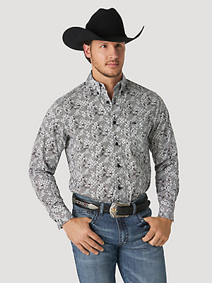 Men's Wrangler® 20X® Competition Performance Long Sleeve Button Down Print Shirt