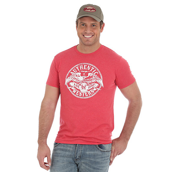 Men's Authentic Western Eagle Screenprint Graphic Tee