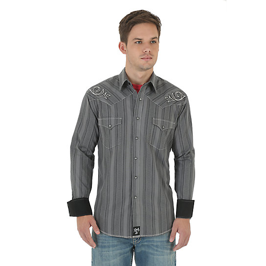 Rock 47® by Wrangler® Long Sleeve Spread Collar Striped Shirt - Grey/Black
