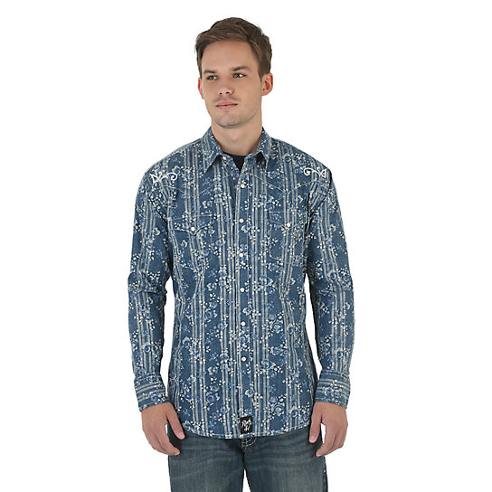 Rock 47® by Wrangler® Long Sleeve Spread Collar Printed Shirt - Blue