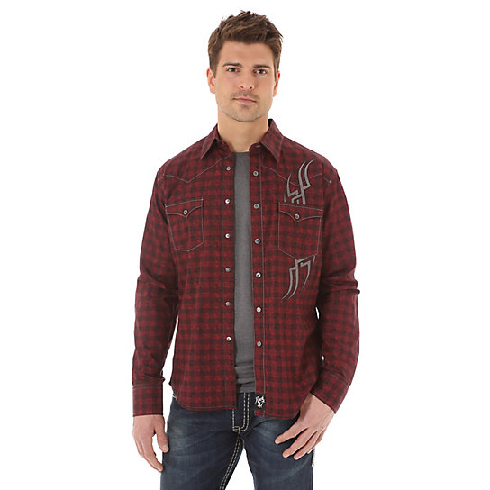 Men's Rock 47® By Wrangler® Long Sleeve Western Snap Print Shirt (Tall Sizes)