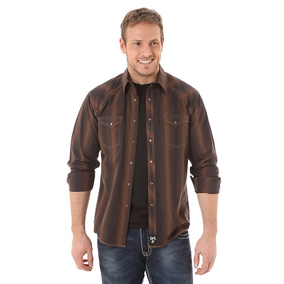 Men's Rock 47® By Wrangler® Long Sleeve Western Snap Stripe Shirt (Tall Sizes)