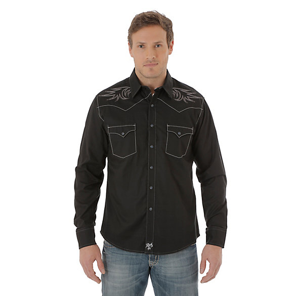 Men's Rock 47® By Wrangler® Long Sleeve Western Snap Solid Shirt (Tall Sizes)