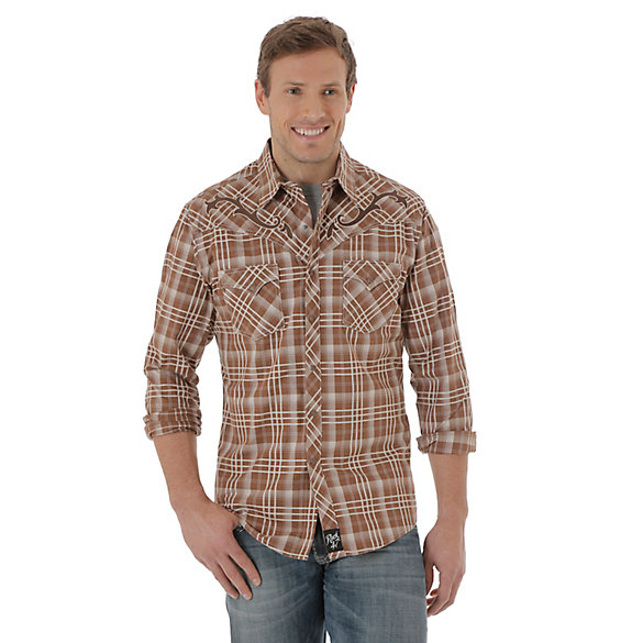 Men's Rock 47® By Wrangler® Long Sleeve Western Snap Plaid Shirt (Tall Sizes)