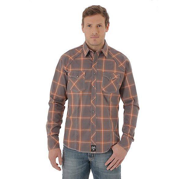 Men's Rock 47® By Wrangler® Long Sleeve Western Snap Plaid Shirt