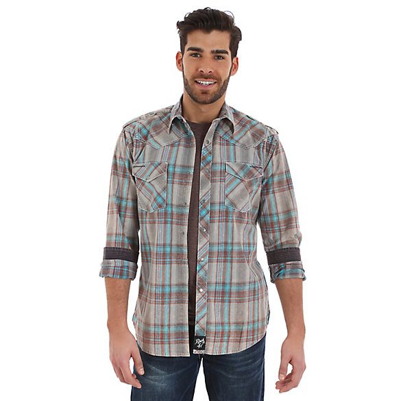 Rock 47® By Wrangler® Long Sleeve Western Snap Western Yoke Plaid Shirt (Tall Sizes)